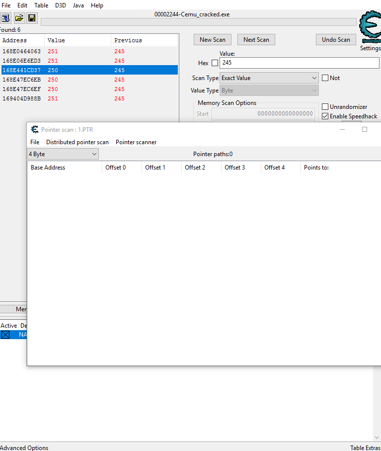 Cheat Engine :: View topic - I cant find pointer with